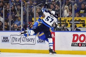Blues beat Jets in Game 1